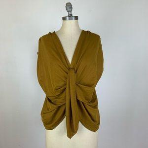 Zara Brown Wrap Front Blouse